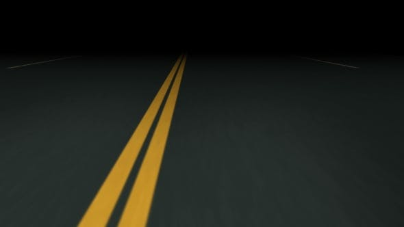 Endless Seamless Night Asphalt Road with Double Dividing Strip