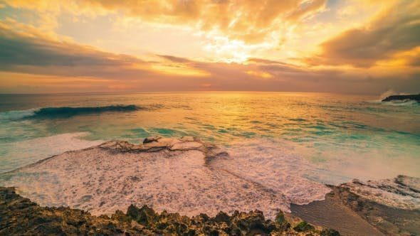 Thumbnail for Cliff and Ocean Against the Background of an Colorful Sunset in Island Nusa Lembongan, Bali