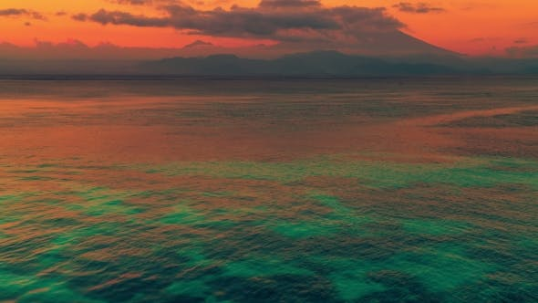 Cover Image for Gunung Agung Mountain on Sunset View From the Island Nusa Lembongan, Bali, Indonesia