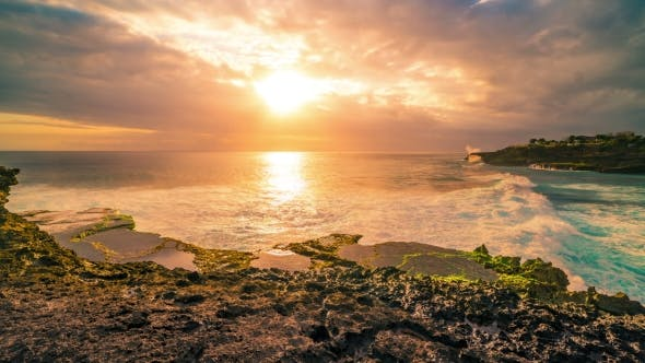 Thumbnail for Summer Sunset at the Rock Beach in Nusa Lembongan, Bali, Indonesia
