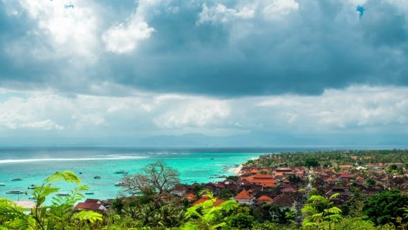 Thumbnail for Aerial View Jungut Batu Beach of the Island of Nusa Lembongan in Clouds Weather, Indonesia