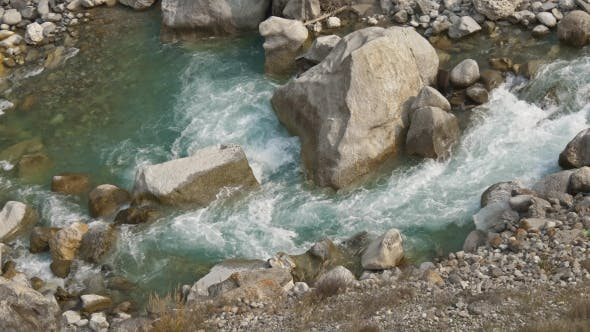 Mountain River with Azure Water