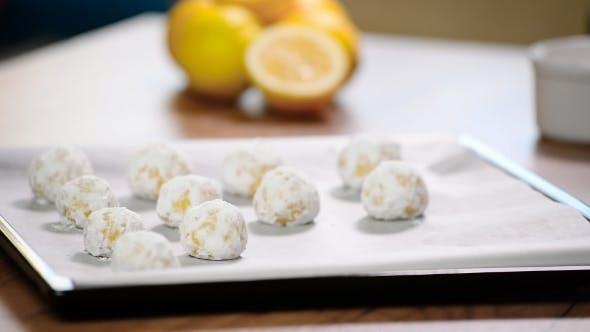 Make Lemon Cookies. Put Cookies on the Baking Tray