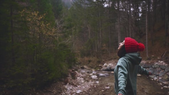 Thumbnail for Woman Breathing Fresh Air in a Forest in Autumn