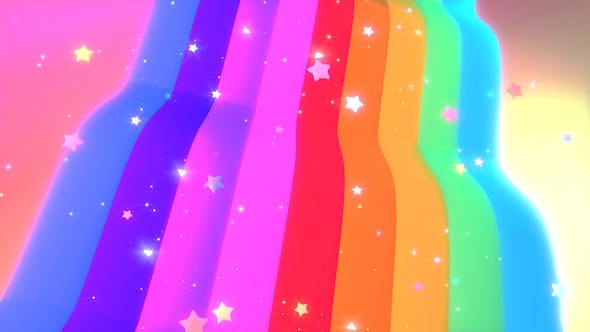 Thumbnail for Rainbow Waterfall and Stars Background