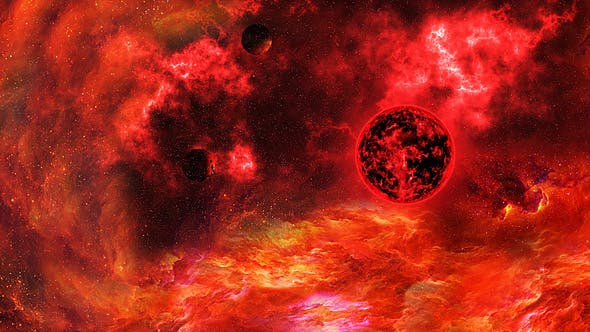 Thumbnail for Abstract Red Space Nebula and Big Red Star with Planets