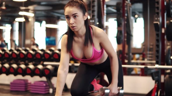 Thumbnail for Fitness Motivation Women Bodybuilding Motivation. Sexy Girl with Big Breasts in Sports Clothes Doing