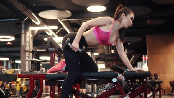 Thumbnail for Sports Girl Doing Exercises with Dumbbells in the Gym. Sexy Girl in Sportswear