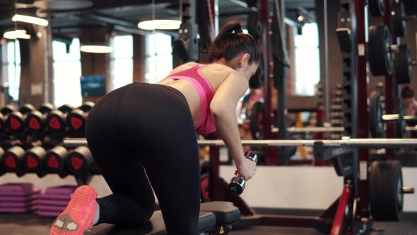 Thumbnail for Fitness Motivation Women Bodybuilding Motivation. Sexy Girl with Big Breasts in Sports Clothes