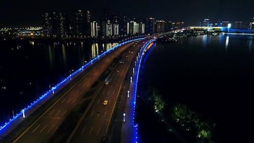 Aerial Over Night Bridge