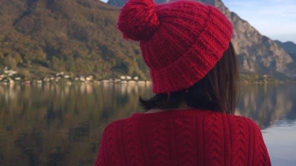 Thumbnail for Woman Enjoying View of Mountain Lake
