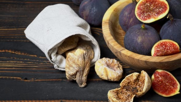 Thumbnail for Fresh and Dried Fig Isolated on Wooden Background