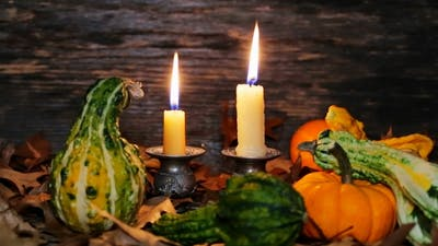 Autumn Thanksgiving Decor with Candles and Pumpkin