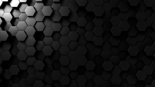 Abstract Black Hexagonal Surface