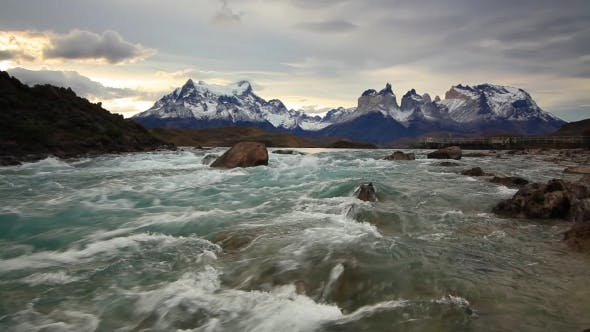 Thumbnail for Mountain River at Sunset with a View of the Mountains Torres Del Paine, Chile