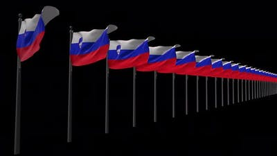 Row Of Slovenia Flags With Alpha 4K