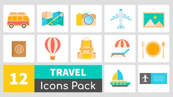 Thumbnail for 12 Travel Icons Pack