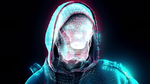 Digital Hacker With Hoodie And Futuristic Mask 4k