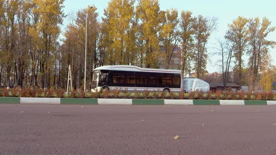 Thumbnail for An Electric Bus Is Going on the Street in Russia