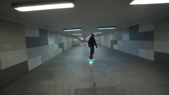 Thumbnail for Electric Longboard Ride in Night City with Led and Motors Underground Tunnel