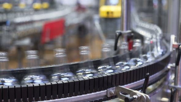 Thumbnail for Conveyor Belt With Glass Bottles Production Process of Alcoholic Beverages