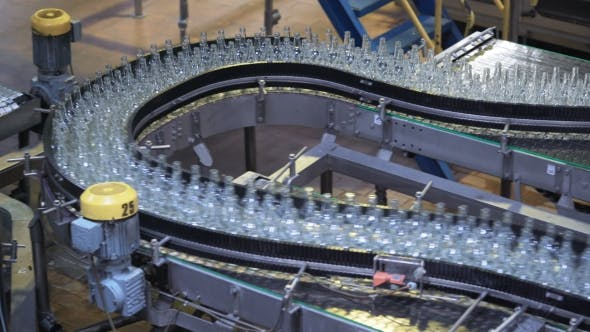 Automated Industrial Chain of Bottles Drinks