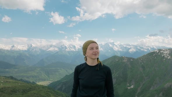 Thumbnail for Girl Smiles in the Mountains - Koruldi Lakes Area, Mestia,Georgia