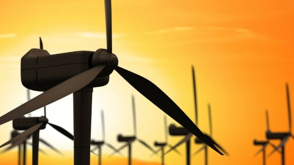 Thumbnail for Windmill Turbines Clean Wind Energy in the Sunrise or Sunset Sky