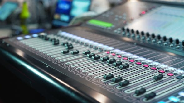 Thumbnail for Audio Mixer in a Studio the Automatic Knobs Moving Up