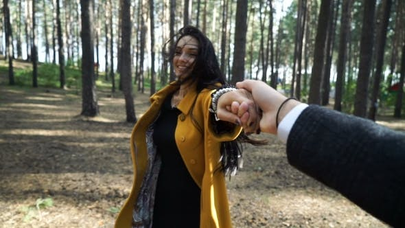 Thumbnail for Follow Me Woman Pull Her Boyfriend on the Forest