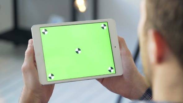 Thumbnail for Man Use Digital Tablet With Touch Green Screen Browsing Communicating
