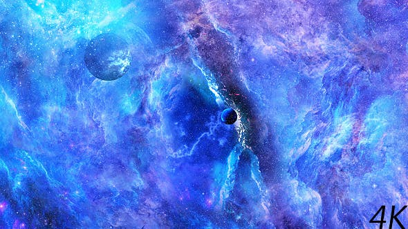 Thumbnail for Journey Through Abstract Blue Space Nebula with Planets and Big Blue Star