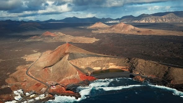 Thumbnail for Flying Over Volcanic Lake El Golfo