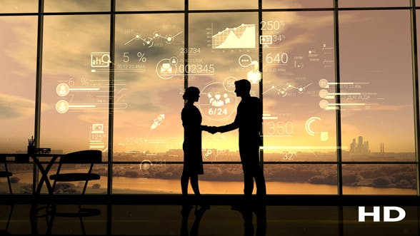 Cover Image for Business Partners Shake Hands On The Background Of Corporate Infographics