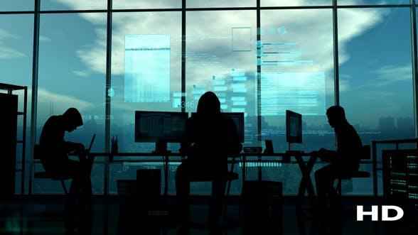 Thumbnail for Hacker und Programmierer bei der Arbeit auf einem blauen Hintergrund