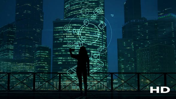 Cover Image for Girl Does Selfie On A Background Of Skyscrapers And Social Media Infographics