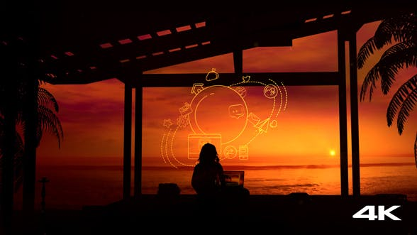 Thumbnail for Girl With A Laptop Working At Sunset In A Tropical Paradise