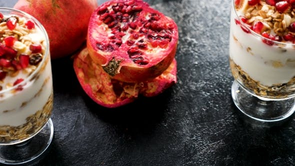 Thumbnail for Delicious Home Made Muesli with Natural Yogurt and Pomegranate