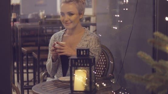 Thumbnail for Dreamy Woman Drinking Coffee