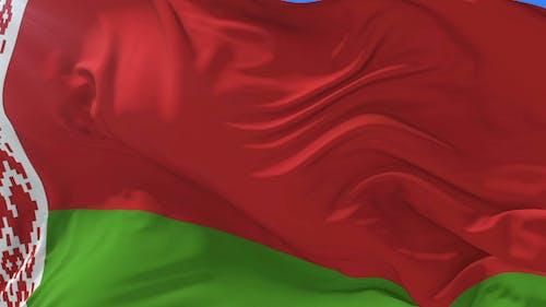 Belarus Flag Waving at Wind