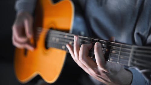 Guitar Player Plays Scales and Gamms on the Acoustic Western Guitar