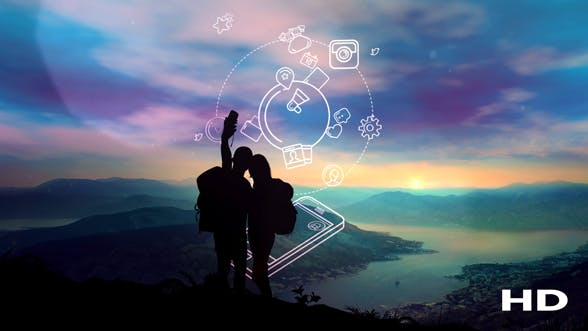 Thumbnail for The Pair Makes Selfie Against The Background Of Sunrise And Infographics