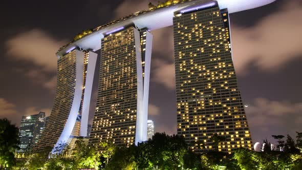 Thumbnail for Singapore Cityscape with Fkickering Windows of Marina Bay Sands Time-lapse