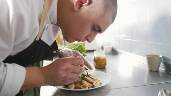 Thumbnail for Chef Serves Fried Chicken on the Plate in Restaurant
