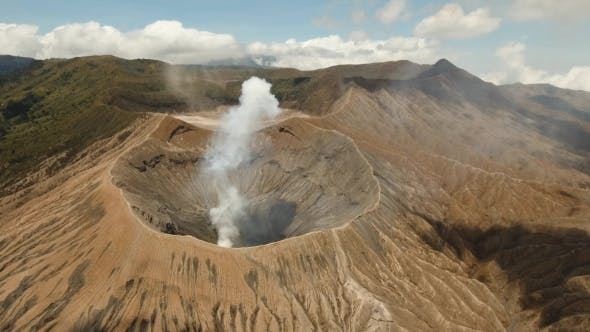 Thumbnail for Active volcano with crater