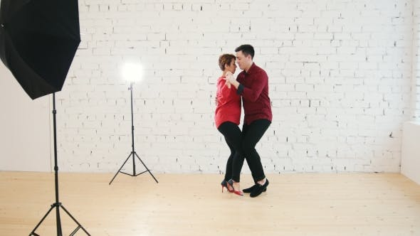 Thumbnail for Two Professional Dancers - Female and Male Is Dancing Together in Studio