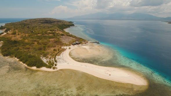 Thumbnail for Aerial View Beautiful Beach on Tropical Island Menjangan