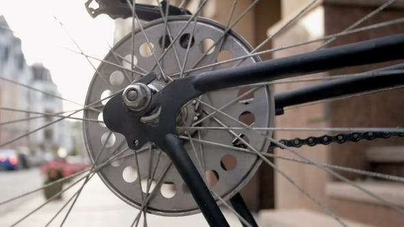 Thumbnail for Toned Footage of Spinning Wheel of Old Bicycle
