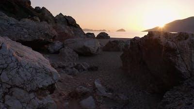 Wild Sandy Beach with Rocks