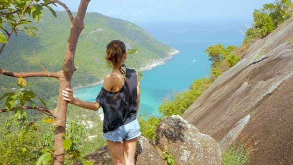 Girl Enjoy Picturesque View of the Island at a Height